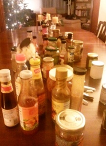 One section of one table (of three) devoted to condiments