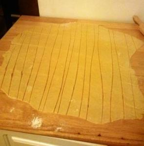 Here is what my pasta dough looks like after I cut it.