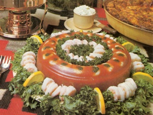 Bloody Mary Shrimp Aspic Mold from a Bon Appetit round up of vintage mold recipes. Many rings here: http://www.bonappetit.com/people/our-team/article/vintage-mold-recipes-from-bon-appetit